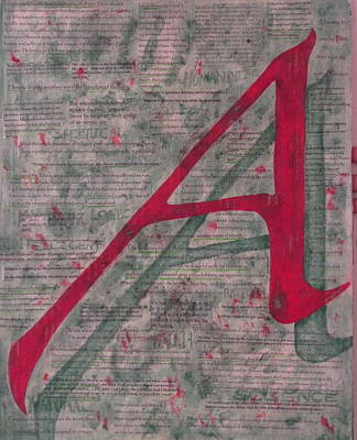 Richard Dawkins Painting - Scarlet Letter With Green Background by Mary VanDenBerg