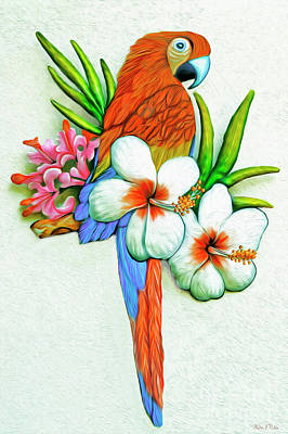 Digital Art -  Scarlet Macaw And Tropical Flowers by Walter Colvin