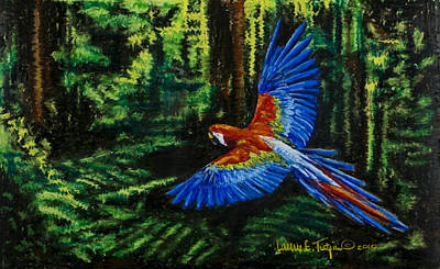 Drawing - Scarlet Macaw In The Forest by Laurie Tietjen