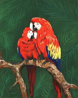 Pastel - Scarlet Macaws by Anastasiya Malakhova