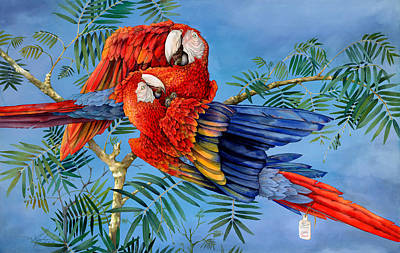 Scarlet Macaw Painting - Scarlet Macaws Existence At A Price by Mary Helsaple