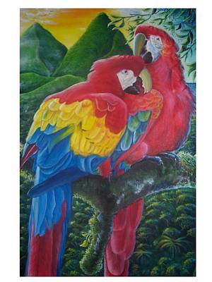 St. Lucia Parrot Painting - Scarlet Macaws by Ross Daniel