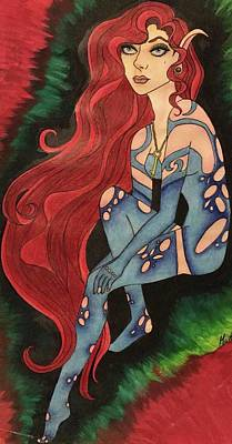 Long Necklace Drawing - Scarlet by Michelle Pryor