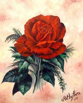 Painting - Scarlet Red Rose by Art By Three Sarah Rebekah Rachel White