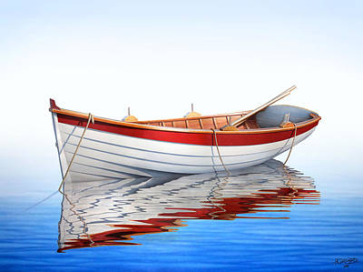 Boats Painting - Scarlet Reflections by Horacio Cardozo