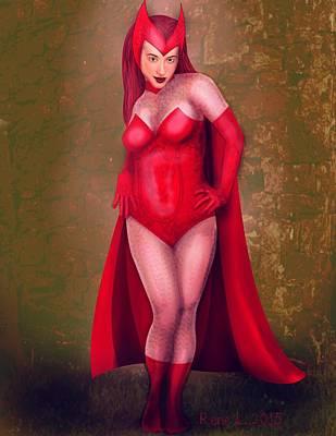 Scarlet Witch Drawing - Scarlet  by Rene Lopez