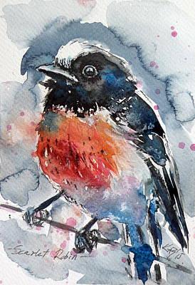 Scarlet Painting - Scarlet Robin by Kovacs Anna Brigitta