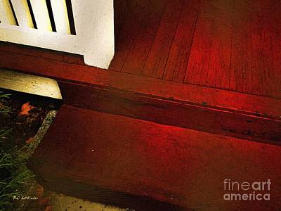 Wooden Stairs Painting - Scarlet Step by RC deWinter