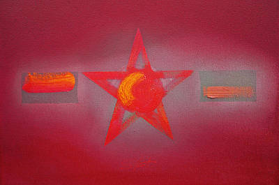 Pentagram Art Painting - Scarlet Vermillion by Charles Stuart