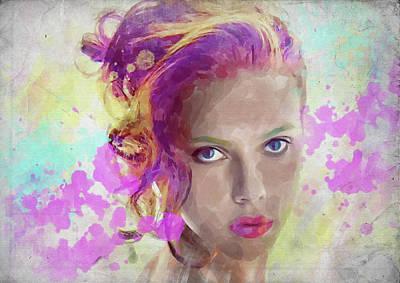Photograph - Scarlett Johansson Watercolor by Ricky Barnard