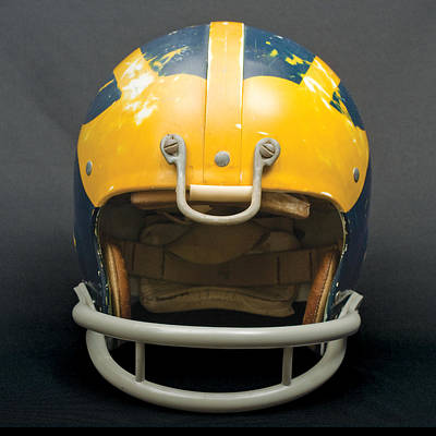 Photograph - Scarred 1970s Wolverine Helmet by Michigan Helmet