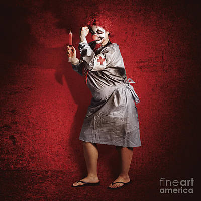 Scary Clown Doctor About To Give Jab With Syringe Art Print by Jorgo Photography - Wall Art Gallery