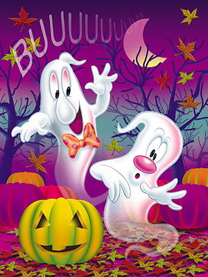 Einladung Painting - Scary Halloween Cards And Invitation by Patrick Hoenderkamp