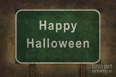 Foreboding Digital Art - Scary Happy Halloween Roadside Sign by Bruce Stanfield