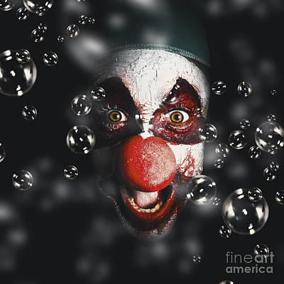 Scary Horror Circus Clown Laughing With Evil Smile Art Print