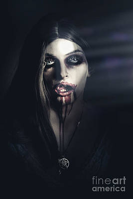 Photograph - Scary Undead Zombie Girl Lurking In Dark Shadows by Jorgo Photography - Wall Art Gallery