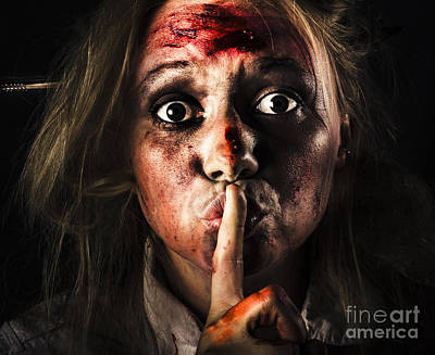 Stranger Photograph - Scary Zombie Horror Face Gesturing Silence by Jorgo Photography - Wall Art Gallery