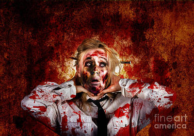 Scary Zombie Woman With Expression Of Shock Horror  Art Print by Jorgo Photography - Wall Art Gallery