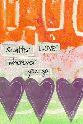 Abstracts Mixed Media - Scatter Love by Linda Woods