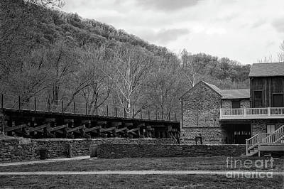 Photograph - Scene At Harpers Ferry Black And White by Karen Adams