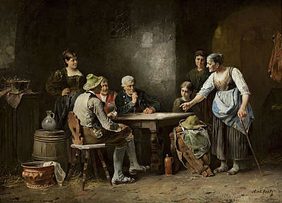 Beer Oil Painting - Scene At The Inn by Anton Seitz