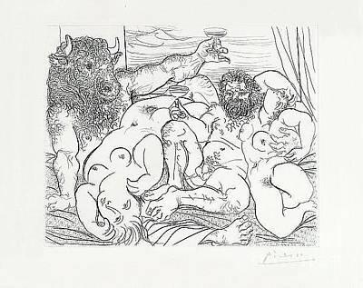 Minotaur Drawing - Scene Bacchique Au Minotaure by Pablo Picasso