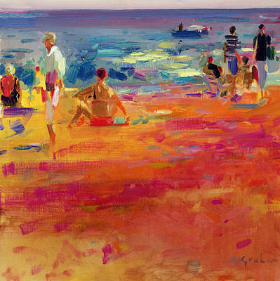 People On Beach Wall Art - Painting - Scene De Plage by Peter Graham
