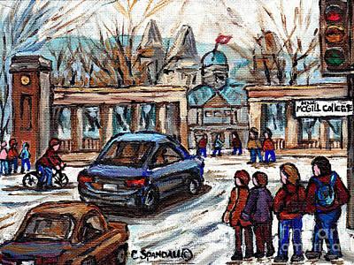 Roddick Gates Painting - Scene De Ville De Montreal Universite Mcgill Avec Etudiants Carole Spandau Artiste Peintre Quebecois by Carole Spandau