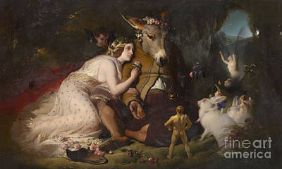 Donkey Digital Art - Scene From A Midsummer Night's Dream by Celestial Images