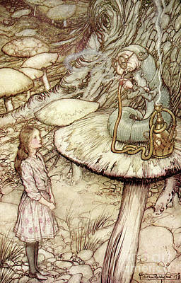 Drawing - Scene From Alice In Wonderland By Lewis Carroll by Arthur Rackham