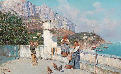 Italian Landscape Painting - Scene From Capri by Giuseppe Giardiello