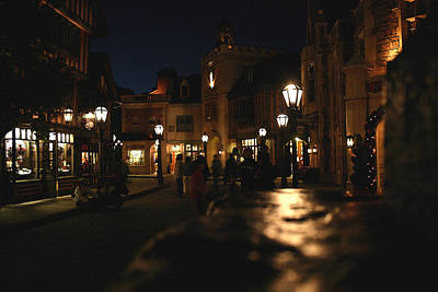Scene From French Village Street At Night At Disney Epcot Art Print