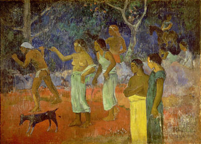 Dog Painting - Scene From Tahitian Life by Paul Gauguin