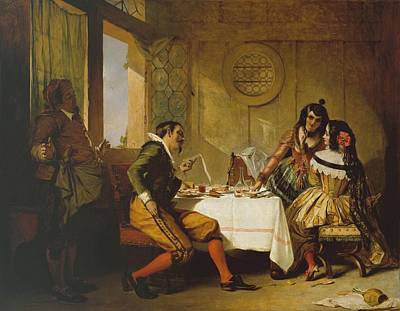 Stick Man Painting - Scene From The Devil Upon Two Sticks by Augustus Leopold
