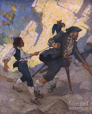 Crutch Painting - Scene From Treasure Island by Newell Convers Wyeth