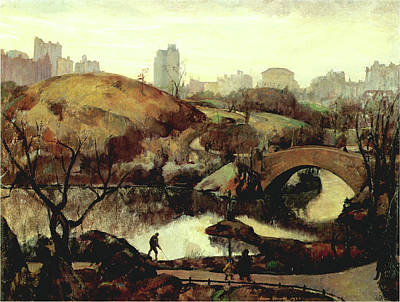 Photograph - Scene In Central Park by Leon Kroll