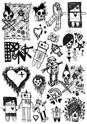 Scene Kid Sketches Art Print by Roseanne Jones