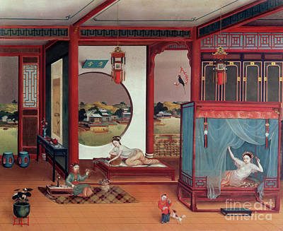 Concubine. Harem Girl Painting - Scene Of An Interior by Chinese School