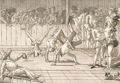 Drawing - Scene Of Contemporary Life - The Acrobats by Giovanni Domenico Tiepolo