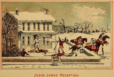 Scene Of Jesse James Shooting Six Men Art Print by Everett
