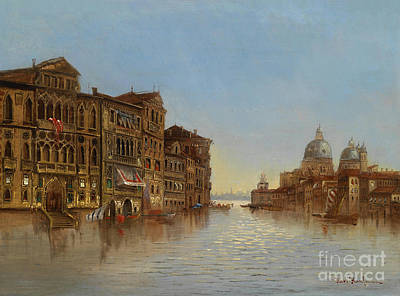 Scenes Of Italy Painting - Scene Of Venice With A View Of The Santa Maria Della Salute by Celestial Images