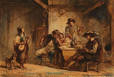 Interior Scene Painting - Scene With A Lute Player by Francois Bonvin