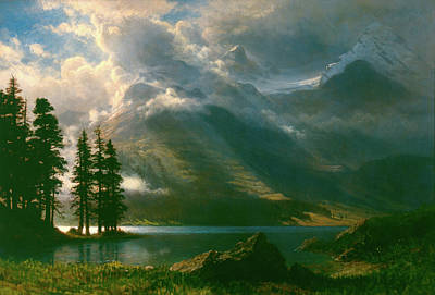 Looking Down Painting - Scenery In The Grand Tetons by Albert Bierstadt