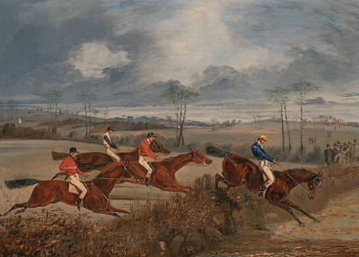 Painting - Scenes From A Steeplechase - Taking A Hedge by Treasury Classics Art