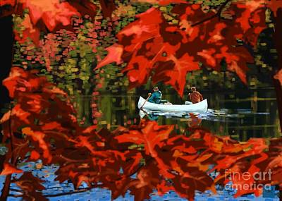 Painting - Scenic Autumn Canoe  by Sassan Filsoof