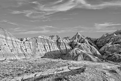 Photograph - Scenic Badlands 2 Bw by Bonfire Photography