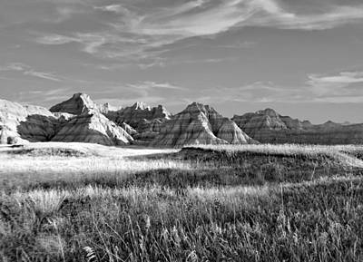 Photograph - Scenic Badlands Bw by Bonfire Photography