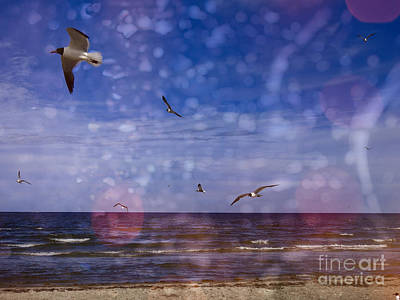 Digital Art - Scenic Beach Seascape by Ella Kaye Dickey