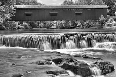 Photograph - Scenic Cataract Falls Bridge Black And White by Adam Jewell