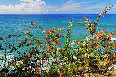Rincon Photograph - Scenic Coastal View With The Desecheo Island by George Oze